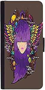 Snoogg Purple Haired Woman 2686 Graphic Snap On Hard Back Leather + Pc Flip C...