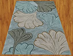 Homemusthaves Gray Blue Green New Modern Contemporary Floral 3D Polyester Wool Area Rug Carpet (2.6x4 Feet)