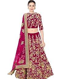 Designer Bollywood Style Pink Velvet Embroidery Work Semi-Stitched Bridal Lahenga Choli