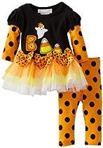Bonnie Baby-girls Newborn Candy Corn Applique Legging Set, Black, 3-6 Months
