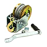 Bastex Heavy Duty 1 ton (2000 lbs) Boat Winch Hand Crank Manual RV Trailer Winch for Small light weight Utility and Recreational Vehicles 4 bolt mounting