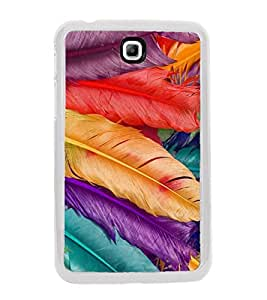 Multicolour Feathers 2D Hard Polycarbonate Designer Back Case Cover for Samsung Galaxy Tab 3 8.0 Wi-Fi T311/T315, Samsung Galaxy Tab 3 8.0 3G, Samsung Galaxy Tab 3 8.0 LTE