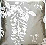 Silver Decorative Throw Pillow Case Silk Cushion Cover Nina Campbell Fabric Pigment Print Wisteria