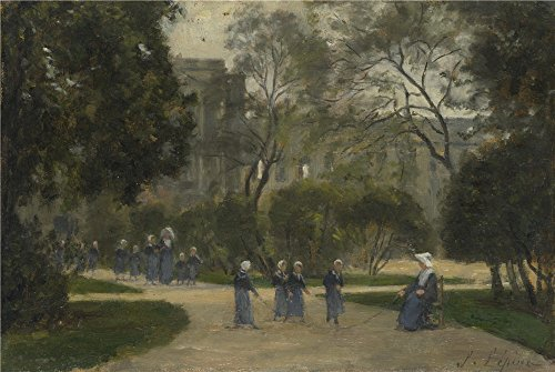 Oil Painting 'Stanislas Victor Edmond Lpine Nuns And Schoolgirls In The Tuileries Gardens Paris ' Printing On High Quality Polyster Canvas , 16 X 24 Inch / 41 X 61 Cm ,the Best Foyer Gallery Art And Home Decoration And Gifts Is This Beautiful Art Decorative Prints On Canvas