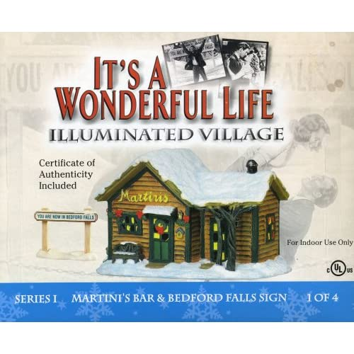 It 39 S A Wonderful Life Illuminated Village Martini 39 S Bar And Bedford Falls Sign