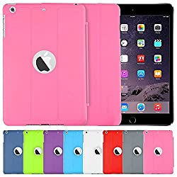 AirCase Polyurethane Smart Case with Foldable Stand & Apple Cut-out for iPad Mini3 [PINK]