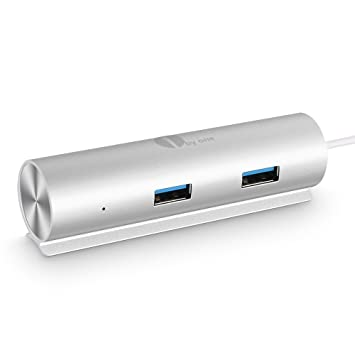 1byone Superspeed Aluminum USB 3.0 4-Port Hub, 5Gbps Transfer Rate with a Built-in 15 feet USB 3.0 Cable for iMac, MacBook Air, MacBook Pro, Mac Mini, PC and Laptop