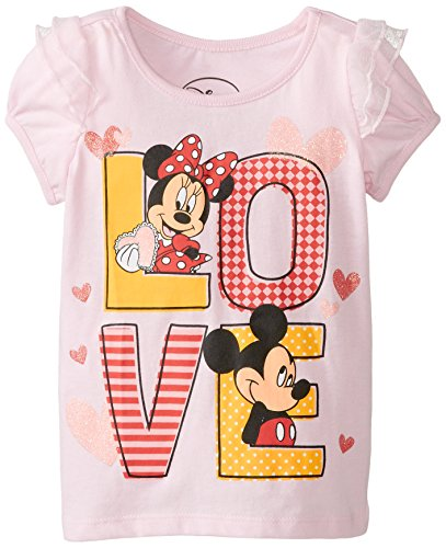 Disney Little Girls' Mickey and Minne Mouse Love Girls T-Shirt