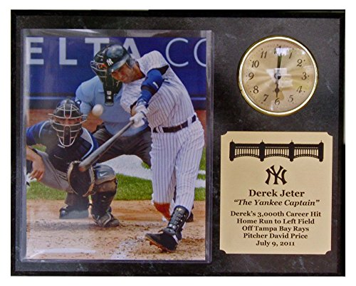 Derek Jeters 3000Th Hit 8X10 Photograph Plaque With Clock front-644646