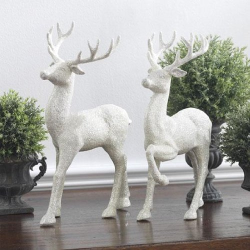 RAZ Imports Christmas Winter 12.5″ Glittered Deer Set of 2