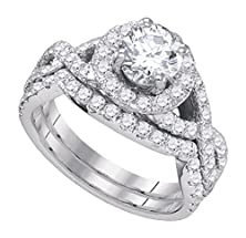 buy 2.19 Cttw 14K White Gold Diamond Halo Engagement Ring Twisted Halo Bridal Set ((L0625) Womens Size 6.25)
