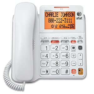 AT&T CL4940 Corded Phone with Answering System, Backlit Display, Extra-Large Tilt Display/Buttons, Caller ID/Call Waiting and Audio Assist