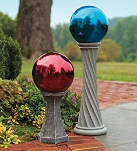 Stainless Steel Gazing Ball With Column Stand in Silver