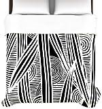 Kess InHouse Emine Ortega Graphique Black 88 by 104-Inch Duvet Cover, King