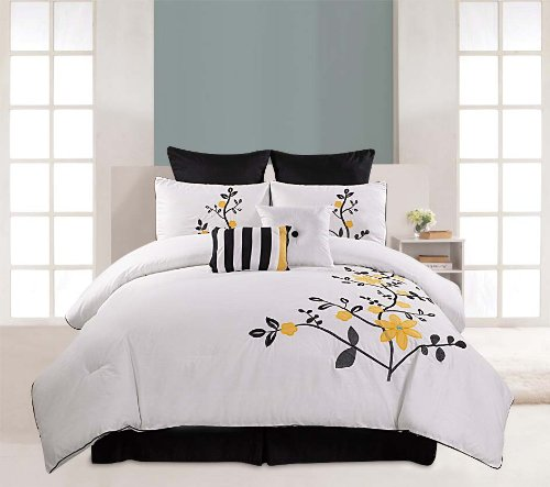 Luxury Home 8-Piece Embroidered Pinecrest Cotton Comforter Set, King front-1007161