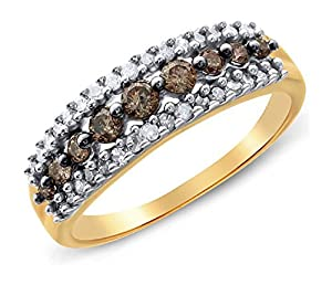 0.5 cttw 10k Yellow Gold Cognac Brown Diamond Wedding Band Anniversary Ring, 6mm ((L0875) Womens Size 8.75)