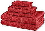 Pinzon 6-Piece Two-Tone Towel Set, Red