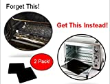 """TWO-PACK 100% Non-Stick 11"""" Toaster Oven Liner. Finally, Prevent Spillovers, Gunk & Odors! Great Teflon Liner for Large and Small Toaster Ovens, Dishwasher Safe, Best Toaster Oven Accessories"""