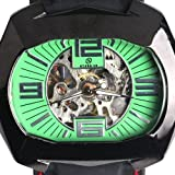 Goer Silicon Rubber Band Army Military Men Auto Mechanical Wrist Watch Green