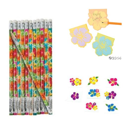 60 HIBISCUS Flower PARTY FAVORS - Birthday LUAU - Pencils - STICKY Notes - TATTOOS Tropical