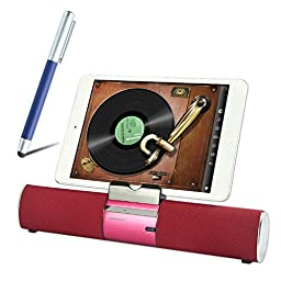 First2savvv LY-F99-08B3 red Portable rechargable wireless bluetooth speaker handsfree desktop stand dock docking station with AUX Jack, perfect for Samsung Galaxy S6 Galaxy Note Edge Galaxy Note 4 Galaxy Note 3 Galaxy Note 2 Galaxy S5 mini Galaxy S5 Galax
