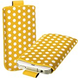 Yellow & White Polka Dot Leather Xylo-Pouch Case Cover with Pull Up Cord: for the Acer Liquid E1 & E2 Mobile Phone.
