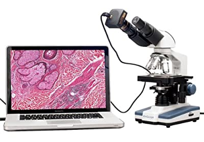Compound Microscope :: AmScope 40X-2000X LED Binocular Digital Compound Microscope with 3D Double Layer Mechanical Stage and 3MP Digital USB Camera by Amscope