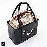 巾着 籠 バッグ 竹製 浴衣 お洒落着物用 小花柄 蝶々 3色からお選びください