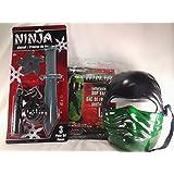 Toy Ninja Play Set 3pc Bundle. Ninja Mask (Colors Vary), Plastic Star And Dagger Set & Ninja Inflatable Bop Bag