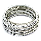 BANGLE SET (Over 20 Pieces) - Womens Stackable Plastic & Metal Bangle / Bracelet Set