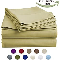 High Strength Natural Bamboo Fiber Yarns Egyptian Comfort 1800 Thread Count 4 Piece KING Size Sheet Set, OLIVE Color