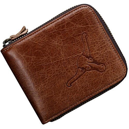 Contacts Men's Brown Genuine Leather Short Zipper Coin Wallet
