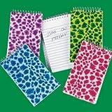 Dozen Assorted Bright Plush Animal Print Spiral Bound Notebooks [Toy]
