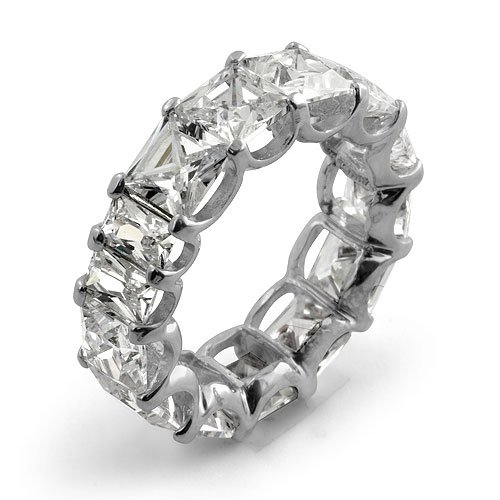 Princess Eternity Wedding Bridal Anniversary Band Cubic Zirconia Sterling Silver 925 Sz7