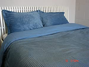 3PC Microplush Micro plush Duvet Set comforter cover King slate blue Stripe 104x90