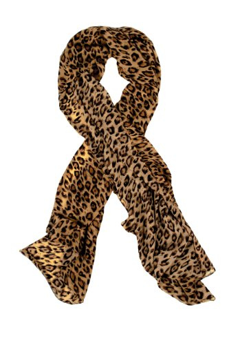 Leopard Animal Print Scarf Shawl Wrap For Women,Gift For Girls,Khaki