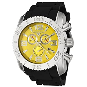 Mens 20067-07 Commander Collection Chronograph Yellow Dial Black Rubber