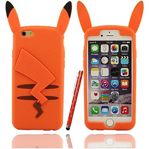 Varios-colores-Pokemon-Forma-funda-Carcasa-de-silicona-suave-case-para-Apple-iPhone-6-plus-55-inch-con-aguja-de-la-pantalla-tctil-de-la-plumaamarillo