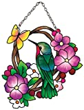 Joan Baker Designs SSB1038R Hummingbird/Flowers Art Glass Suncatcher, 3 by 4-Inch