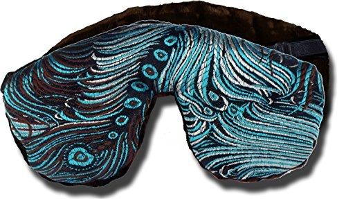 Candi Andi - Adjustable Travel Sleep Eye Mask - Dual Sided Satin Brocade & Crushed Velvet - Lavender Scented - Dark Chocolate Turquoise - TEML-DT by Candi Andi