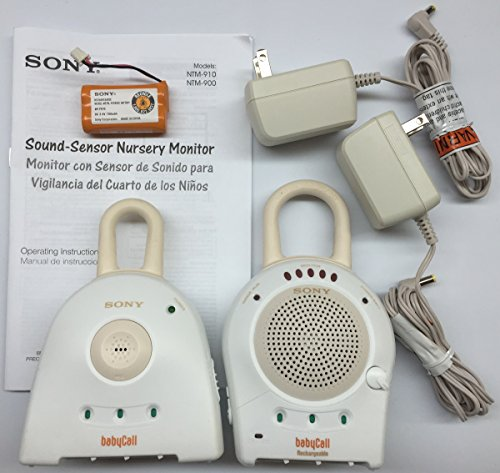 Sony NTM910YLW-WHT Baby Call 900MHz Nursery Rechargeable Monitor with Transmitter, 5 Sound-Sensor Activity Lights, and Voice Activation Mode (White) - {Brown Box Packaging}