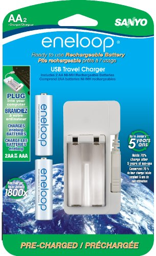 Sanyo NEW 1800 eneloop 2-AA Ni-MH Pre-Charged Rechargeable Batteries with USB Charger