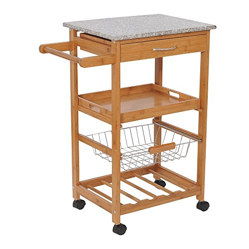 Kitchen Trolley Rolling Cart Shelf Storage Island with Wine Rack Basket Wood 31″ Bamboo &Granite (Night Stand Mini Fridge compare prices)