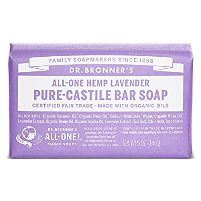Dr. Bronner's Magic Soaps Pure-Castile Soap, All-One Hemp Lavender, 5-Ounce Bars (Pack of 6)
