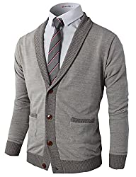 H2H Mens Basic Shawl Collar Knitted Cardigan Sweaters with Ribbing Edge GRAY US S/Asia M (CMOCAL07)