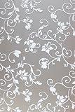 Hogar Static Cling Vinyl Decorative Privacy Flowers Floral Glass Window Film White 3 FT x 10 FT