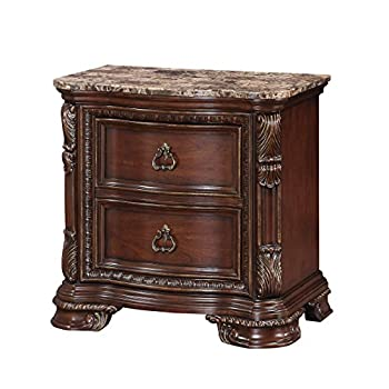 Emerald Home Furnishings Riviera 2 Drawer Nightstand with marble Top, NULL, Brown Cherry