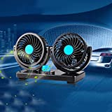 Masaling 12Vダブル車載ファン  カー扇風機 冷風器 2段階風量 調節でき 360度回転 安全 低騒音 強風力 省エネ 車用 空気循環 夏対応 シンプルデザイン 涼しい夏を楽しめ  ブルー