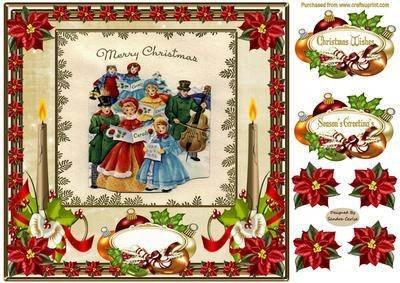 """Vintage-Stil, Motiv """"Weihnachtslieder - 8 x 8 Module Card Front durch Carlse Sandra"""