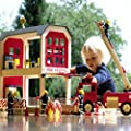 Wooden Fire Station Playset with Accessories